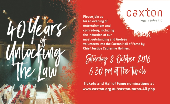 Invitation to Caxton 40th Celebration Click to book