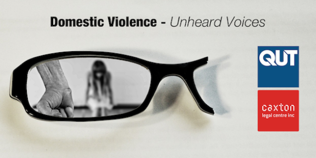 Image of a frightened woman seen through broken spectacles