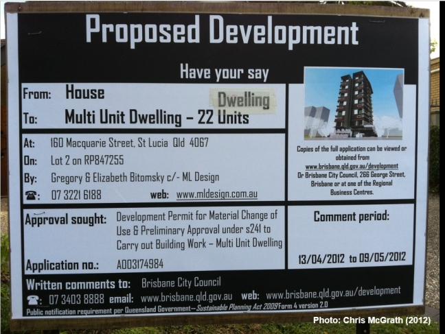 example of a notice placed on the land for a proposed development